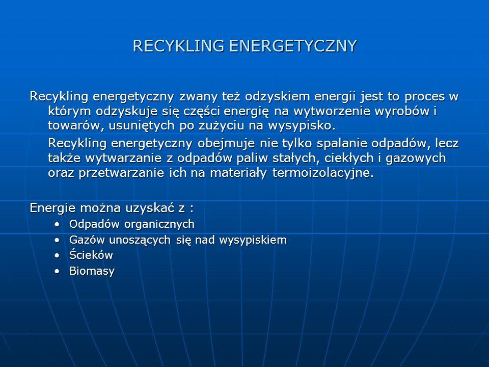 RECYKLING ENERGETYCZNY Recykling energetyczny zwany też odzyskiem energii jest to proces w którym odzyskuje się części energię na wytworzenie wyrobów