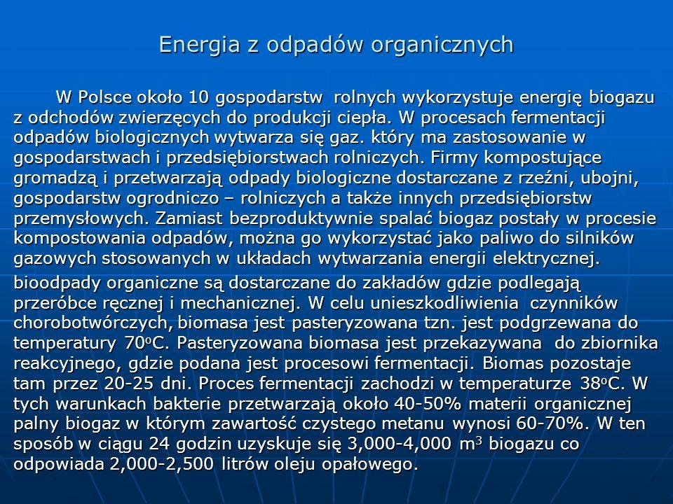 Energia z odpadów organicznych W Polsce około 10 gospodarstw rolnych wykorzystuje energię biogazu z odchodów zwierzęcych do produkcji ciepła. W proces