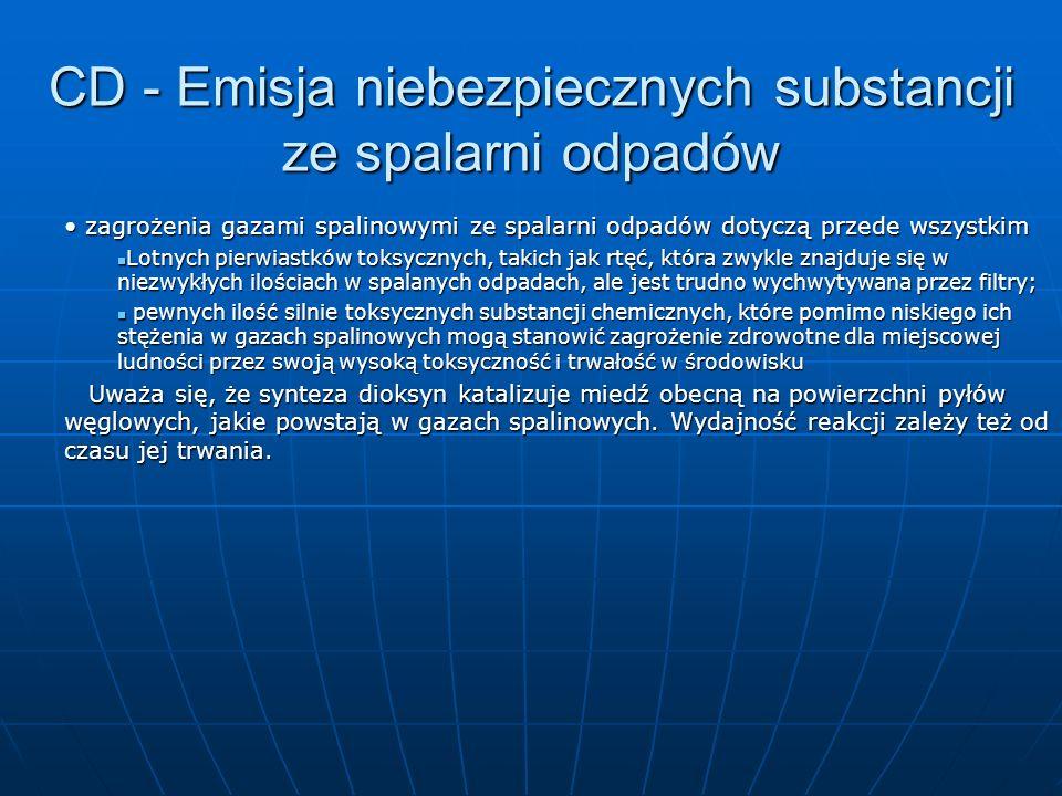 CD - Emisja niebezpiecznych substancji ze spalarni odpadów zagrożenia gazami spalinowymi ze spalarni odpadów dotyczą przede wszystkim zagrożenia gazam