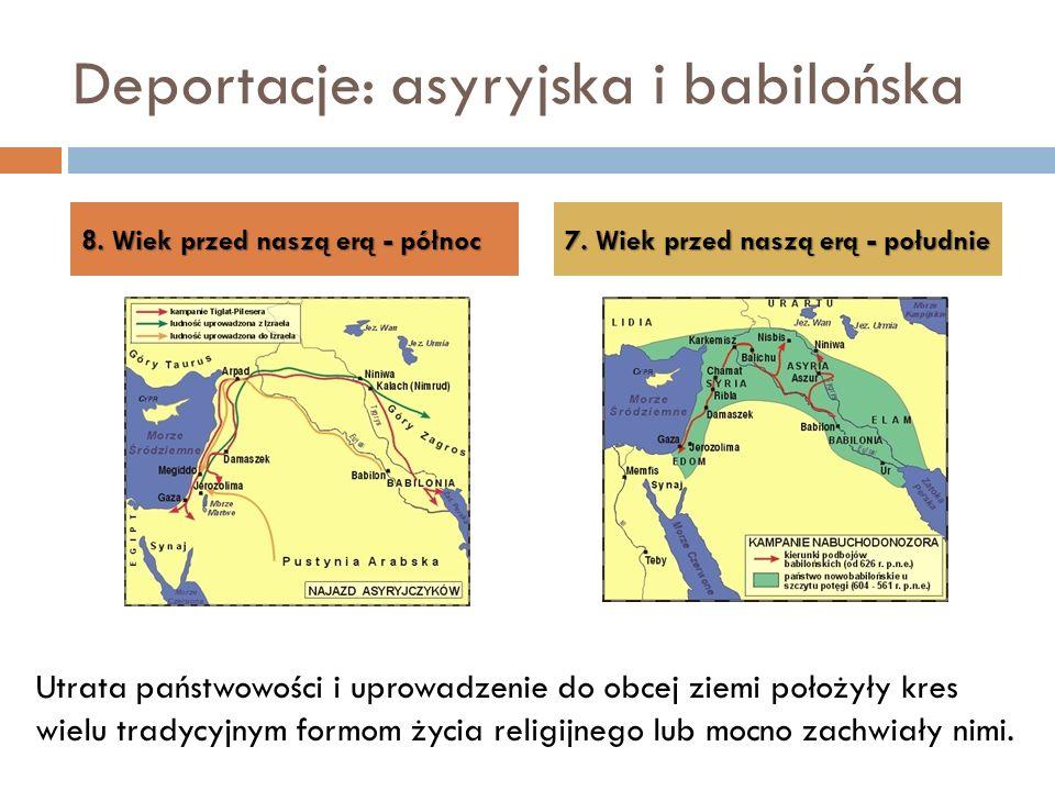Deportacje: asyryjska i babilońska 8. Wiek przed naszą erą - północ 7. Wiek przed naszą erą - południe Utrata państwowości i uprowadzenie do obcej zie