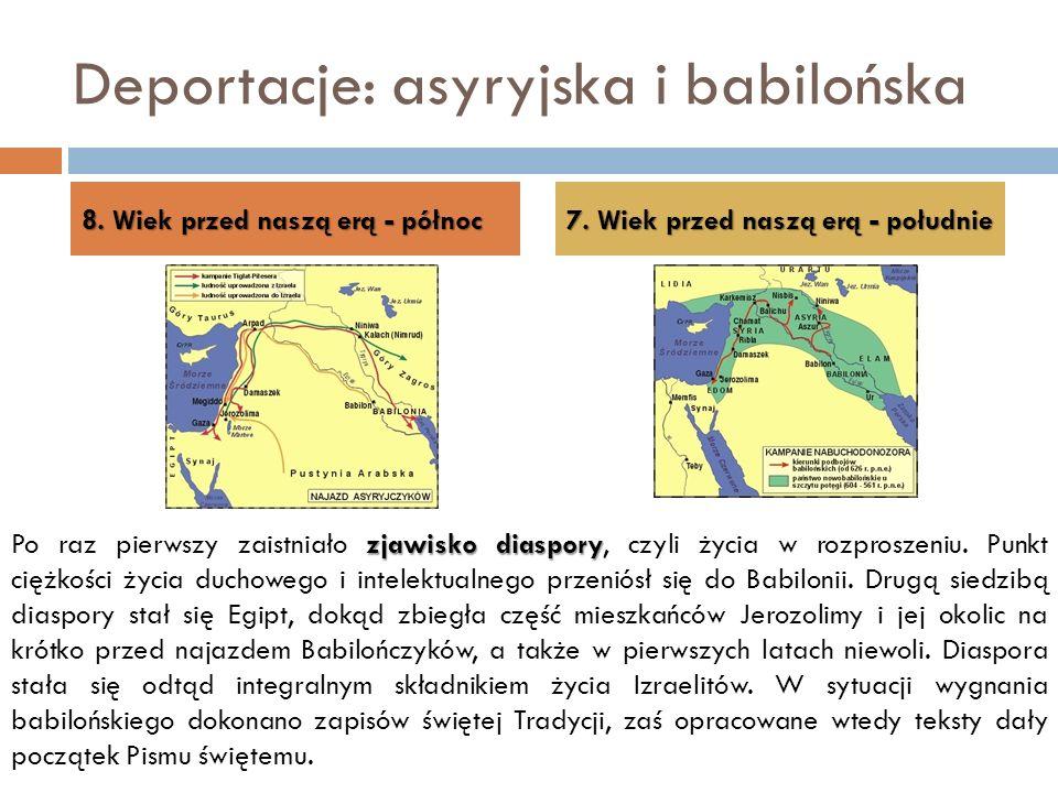 Deportacje: asyryjska i babilońska 8. Wiek przed naszą erą - północ 7. Wiek przed naszą erą - południe zjawisko diaspory Po raz pierwszy zaistniało zj