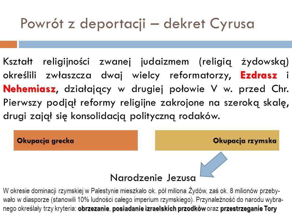 Powrót z deportacji – dekret Cyrusa Okupacja grecka Okupacja rzymska Ezdrasz Nehemiasz Kształt religijności zwanej judaizmem (religią żydowską) określ