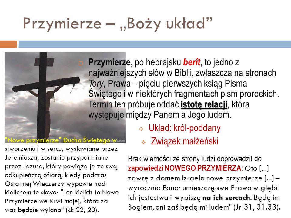 Przymierze – Boży układ istotę relacji Przymierze, po hebrajsku berît, to jedno z najważniejszych słów w Biblii, zwłaszcza na stronach Tory, Prawa – p