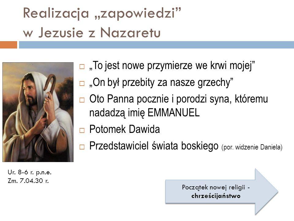 Realizacja zapowiedzi w Jezusie z Nazaretu To jest nowe przymierze we krwi mojej On był przebity za nasze grzechy Oto Panna pocznie i porodzi syna, kt