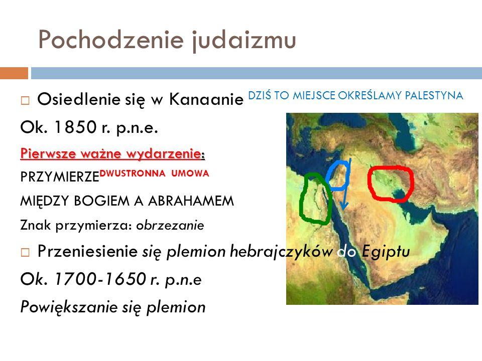 Pochodzenie judaizmu Osiedlenie się w Kanaanie DZIŚ TO MIEJSCE OKREŚLAMY PALESTYNA Ok. 1850 r. p.n.e. Pierwsze ważne wydarzenie: PRZYMIERZE DWUSTRONNA