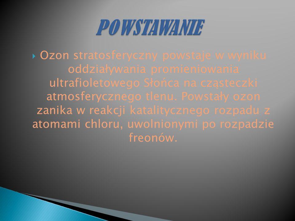 Ozon stratosferyczny powstaje w wyniku oddziaływania promieniowania ultrafioletowego Słońca na cząsteczki atmosferycznego tlenu.