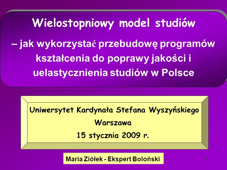 1 Maria Ziółek - Ekspert Boloński Uniwersytet Kardynała Stefana Wyszyńskiego Warszawa 15 stycznia 2009 r.