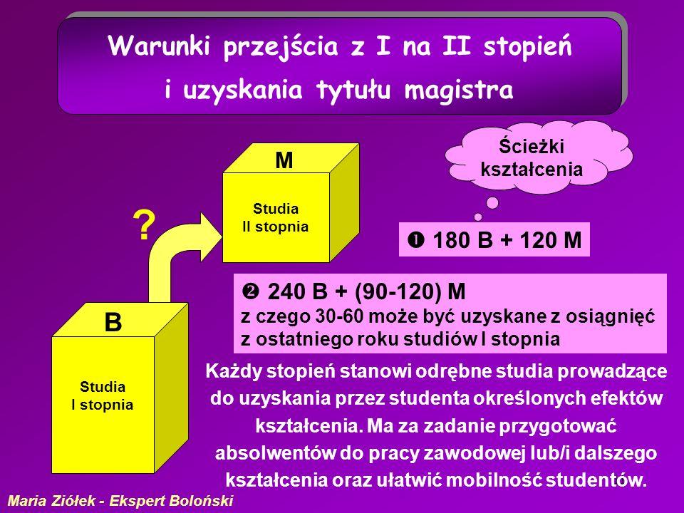 11 Studia I stopnia Studia II stopnia Ścieżki kształcenia B M 180 B + 120 M 240 B + (90-120) M z czego 30-60 może być uzyskane z osiągnięć z ostatniego roku studiów I stopnia .