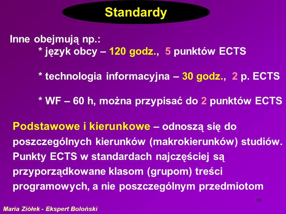 19 Standardy Inne obejmują np.: * język obcy – 120 godz., 5 punktów ECTS * technologia informacyjna – 30 godz., 2 p.