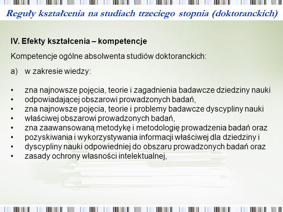 Reguły kształcenia na studiach trzeciego stopnia (doktoranckich) IV.