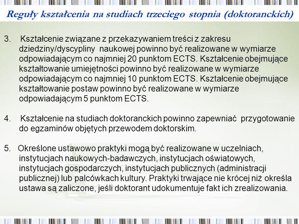 Reguły kształcenia na studiach trzeciego stopnia (doktoranckich) III.