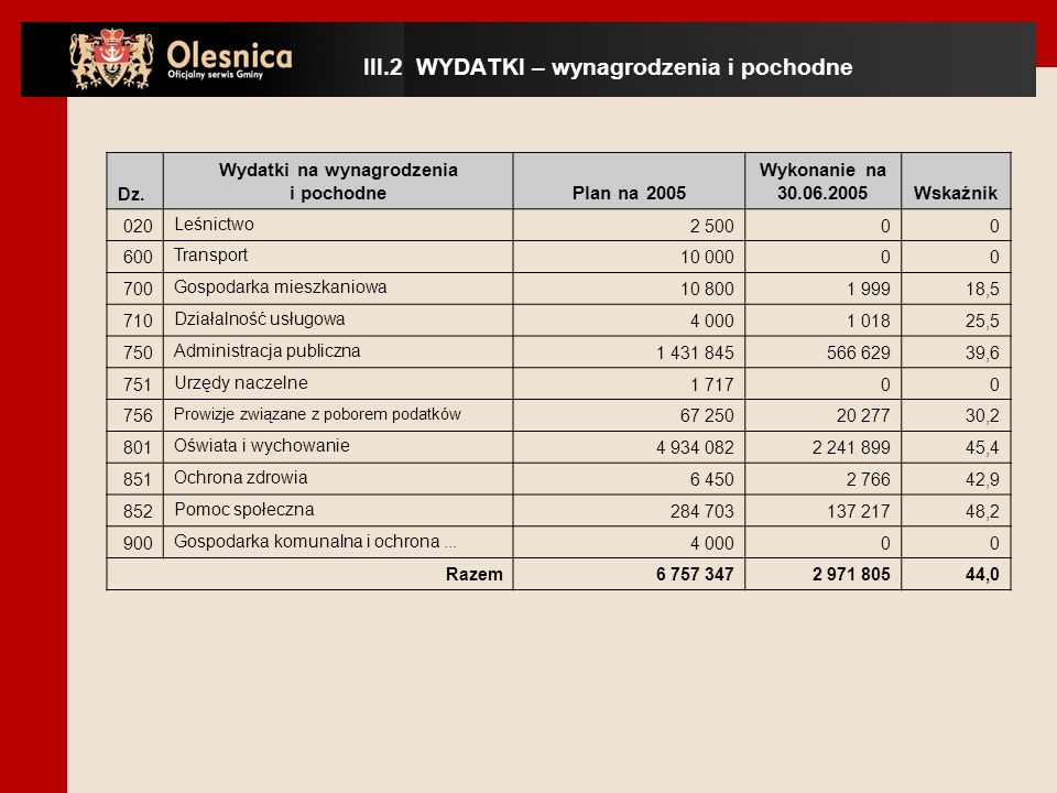Dz. Wydatki na wynagrodzenia i pochodnePlan na 2005 Wykonanie na 30.06.2005Wskaźnik 020Leśnictwo2 50000 600Transport10 00000 700Gospodarka mieszkaniow