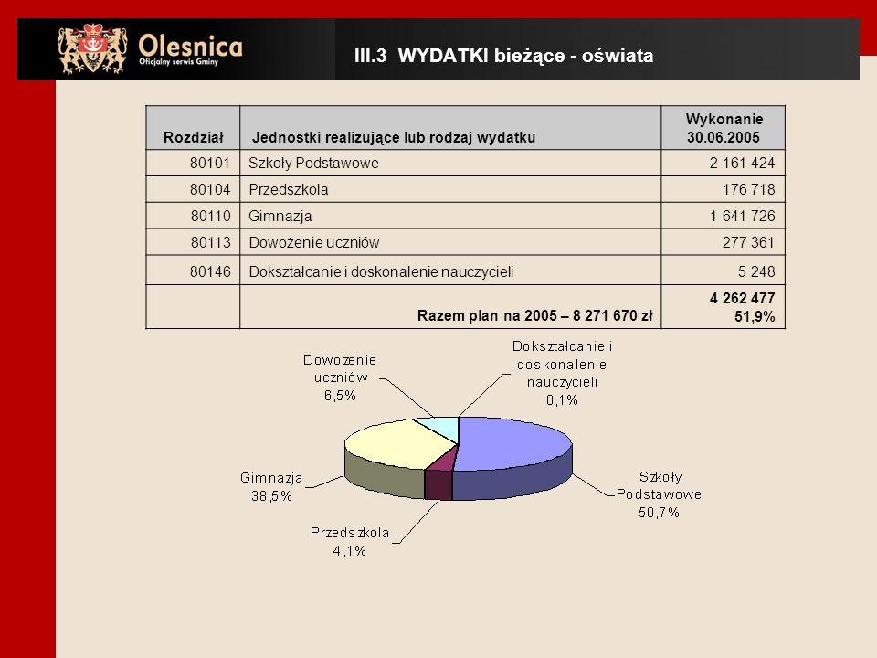 Rodzaj wydatkówWykonanie 30.06.2005 Wykonanie planu Struktura w wykonaniu wydatki bieżące7 569 65948,00%87,2% wydatki majątkowe1 112 90815,0%12,8% IV.1 WYDATKI MAJĄTKOWE - ogólnie