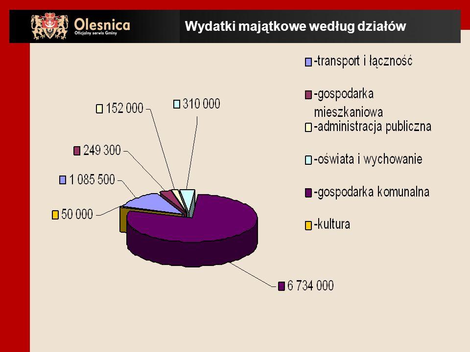 Wydatki majątkowe według działów