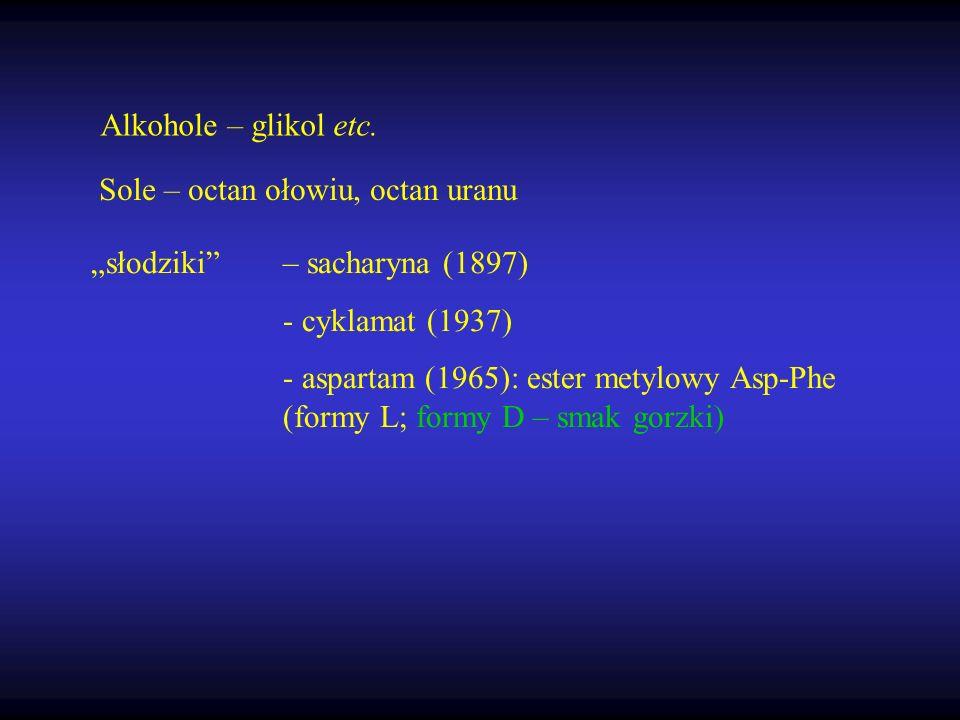 słodziki– sacharyna (1897) - cyklamat (1937) - aspartam (1965): ester metylowy Asp-Phe (formy L; formy D – smak gorzki) Alkohole – glikol etc. Sole –