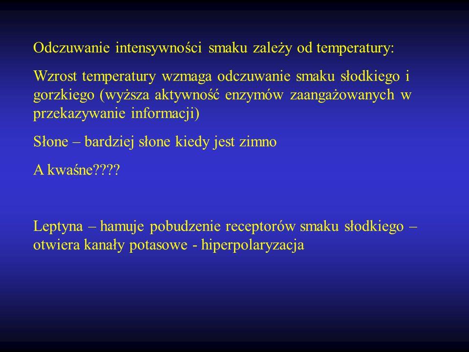 Odczuwanie intensywności smaku zależy od temperatury: Wzrost temperatury wzmaga odczuwanie smaku słodkiego i gorzkiego (wyższa aktywność enzymów zaang
