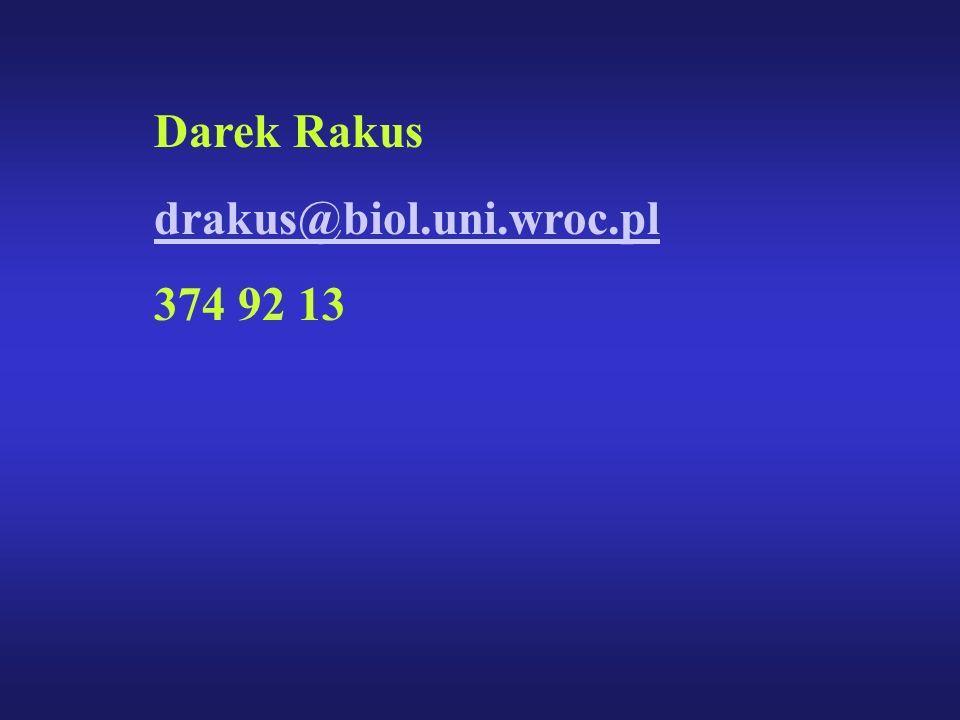 Darek Rakus drakus@biol.uni.wroc.pl 374 92 13