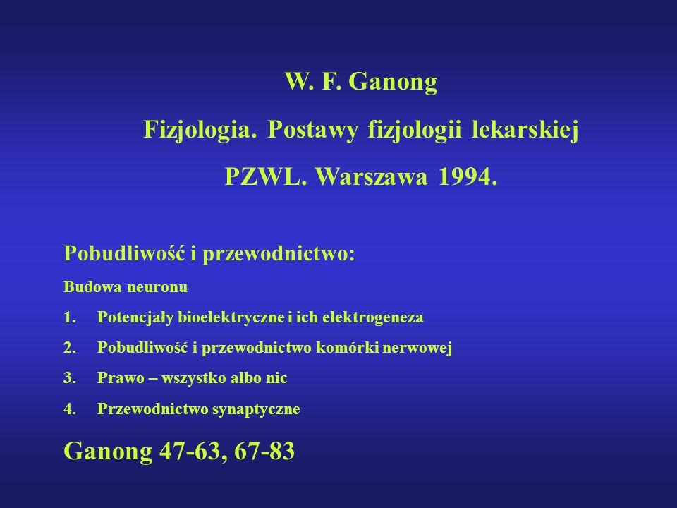 W. F. Ganong Fizjologia. Postawy fizjologii lekarskiej PZWL. Warszawa 1994. Pobudliwość i przewodnictwo: Budowa neuronu 1.Potencjały bioelektryczne i