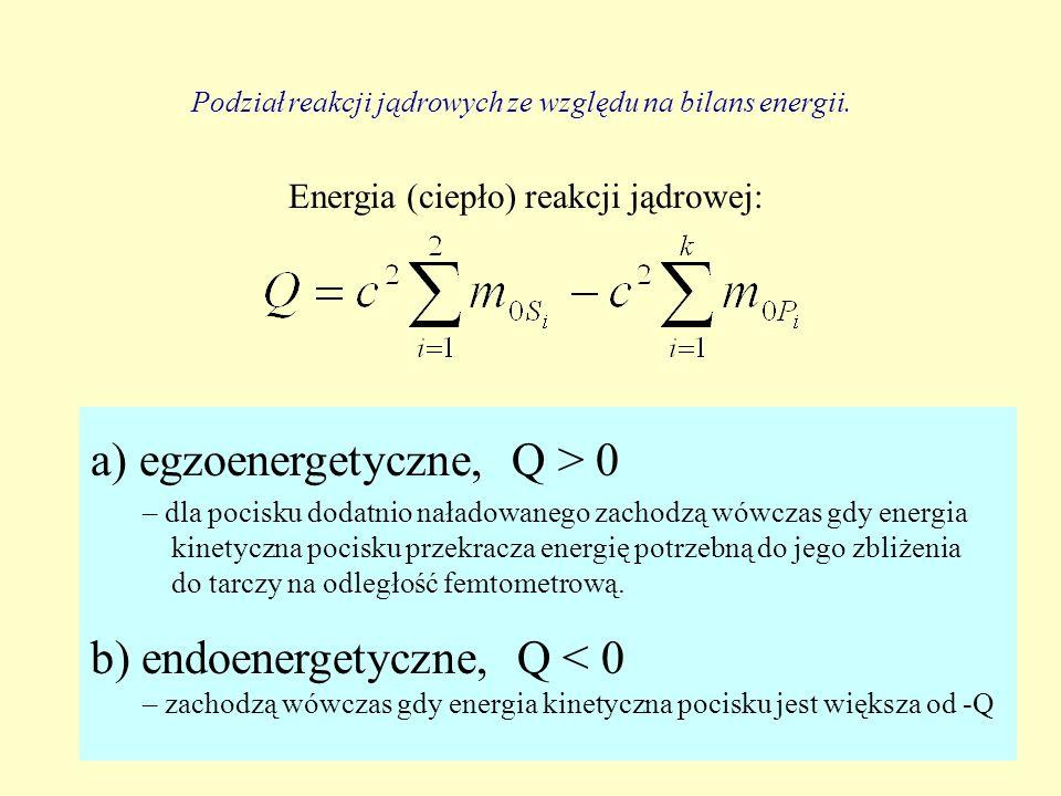 Energia (ciepło) reakcji jądrowej: Podział reakcji jądrowych ze względu na bilans energii. a) egzoenergetyczne, Q > 0 – dla pocisku dodatnio naładowan