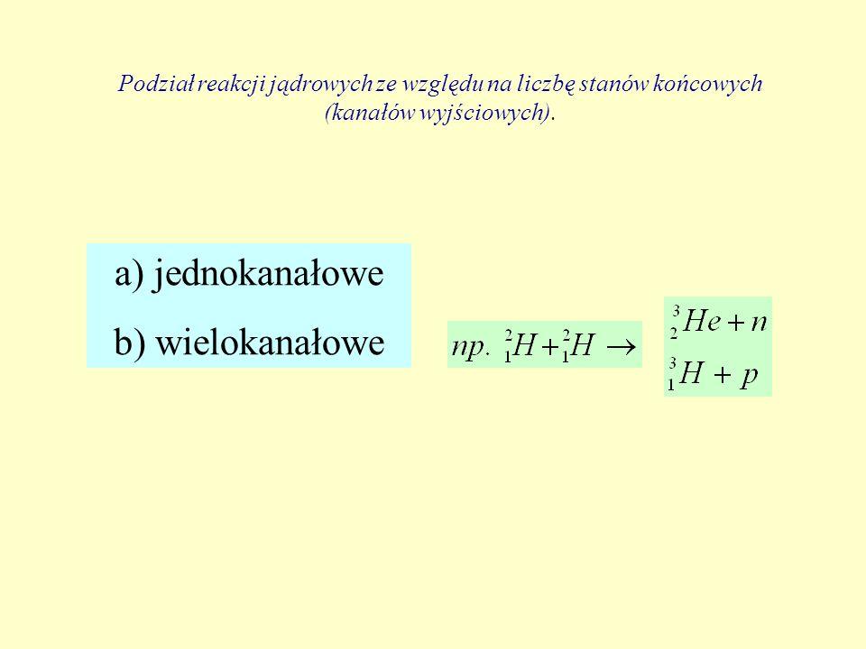Podział reakcji jądrowych ze względu na liczbę stanów końcowych (kanałów wyjściowych). a) jednokanałowe b) wielokanałowe