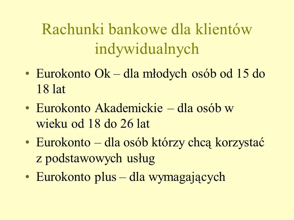 Rachunki bankowe dla klientów indywidualnych Eurokonto Ok – dla młodych osób od 15 do 18 lat Eurokonto Akademickie – dla osób w wieku od 18 do 26 lat Eurokonto – dla osób którzy chcą korzystać z podstawowych usług Eurokonto plus – dla wymagających