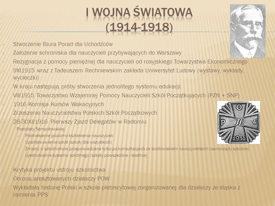 Stworzenie Biura Porad dla Uchodźców Założenie schroniska dla nauczycieli przybywających do Warszawy Rezygnacja z pomocy pieniężnej dla nauczycieli od