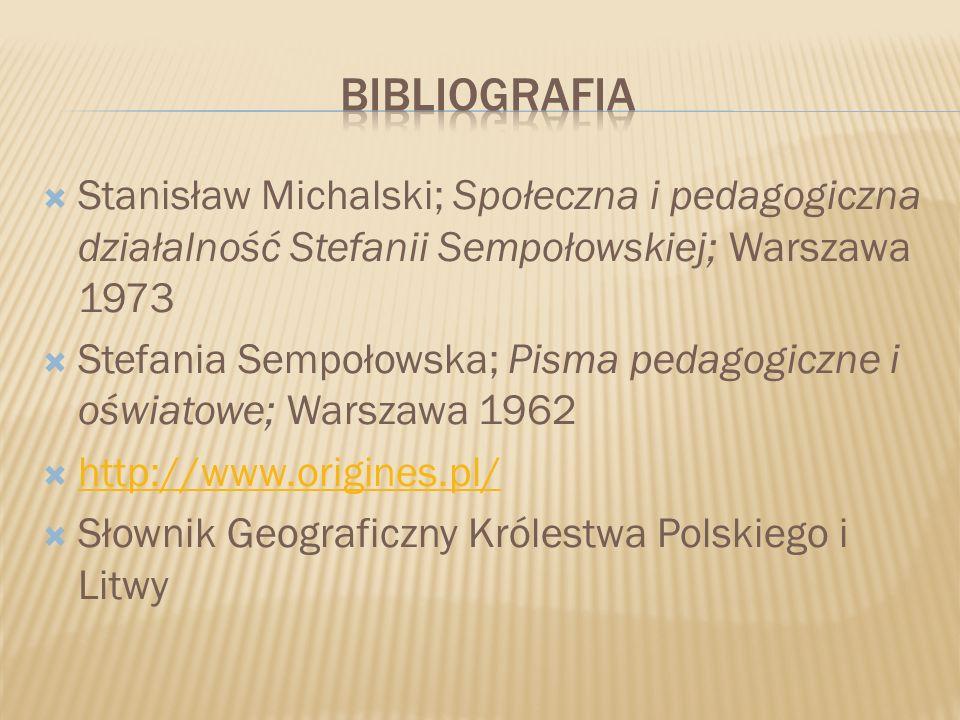 Stanisław Michalski; Społeczna i pedagogiczna działalność Stefanii Sempołowskiej; Warszawa 1973 Stefania Sempołowska; Pisma pedagogiczne i oświatowe;