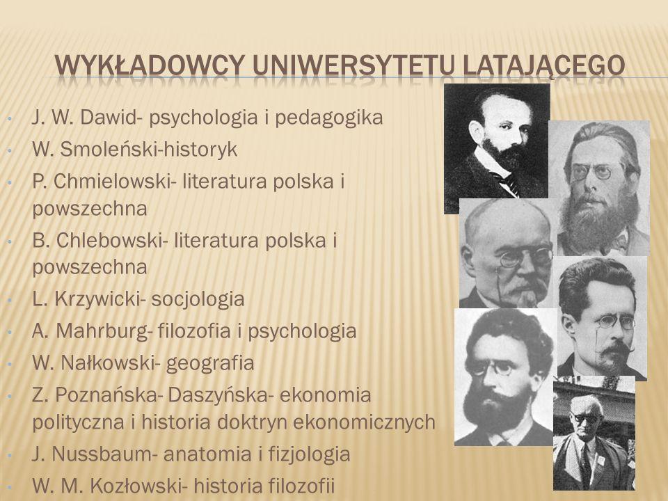 J. W. Dawid- psychologia i pedagogika W. Smoleński-historyk P. Chmielowski- literatura polska i powszechna B. Chlebowski- literatura polska i powszech