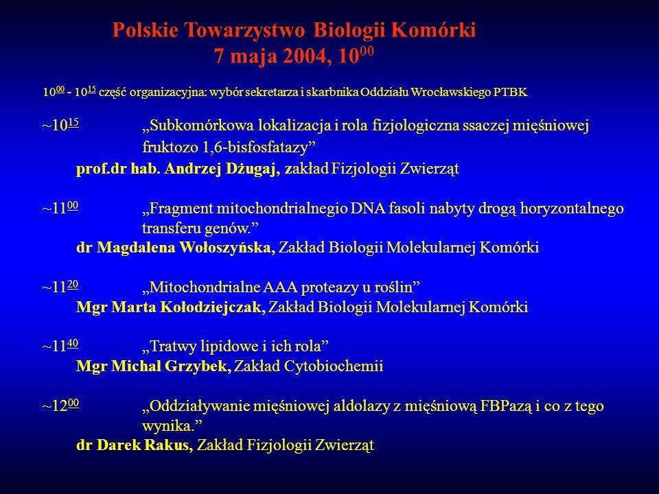 10 00 - 10 15 część organizacyjna: wybór sekretarza i skarbnika Oddziału Wrocławskiego PTBK ~10 15 Subkomórkowa lokalizacja i rola fizjologiczna ssacz