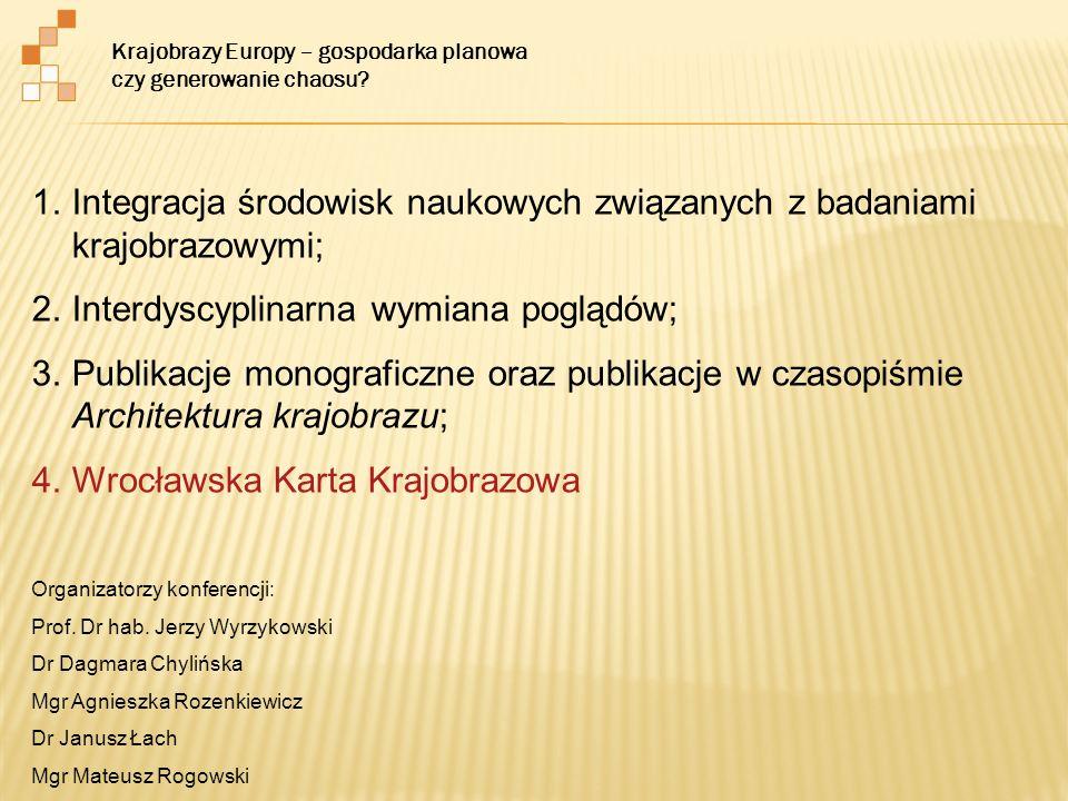1.Integracja środowisk naukowych związanych z badaniami krajobrazowymi; 2.Interdyscyplinarna wymiana poglądów; 3.Publikacje monograficzne oraz publika