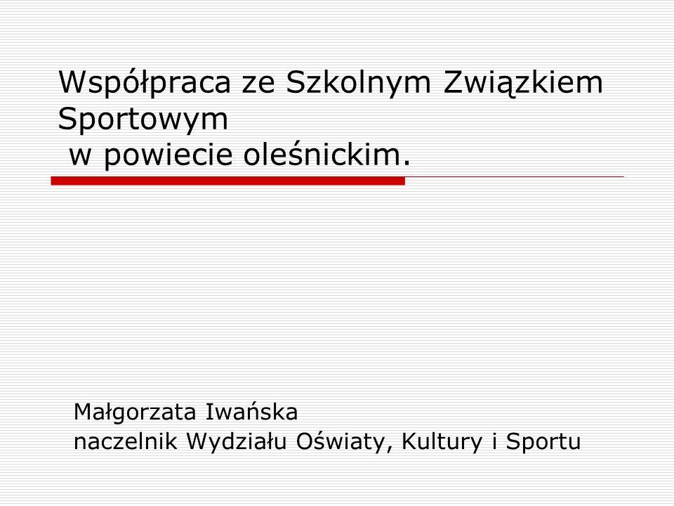 Współpraca ze Szkolnym Związkiem Sportowym w powiecie oleśnickim. Małgorzata Iwańska naczelnik Wydziału Oświaty, Kultury i Sportu