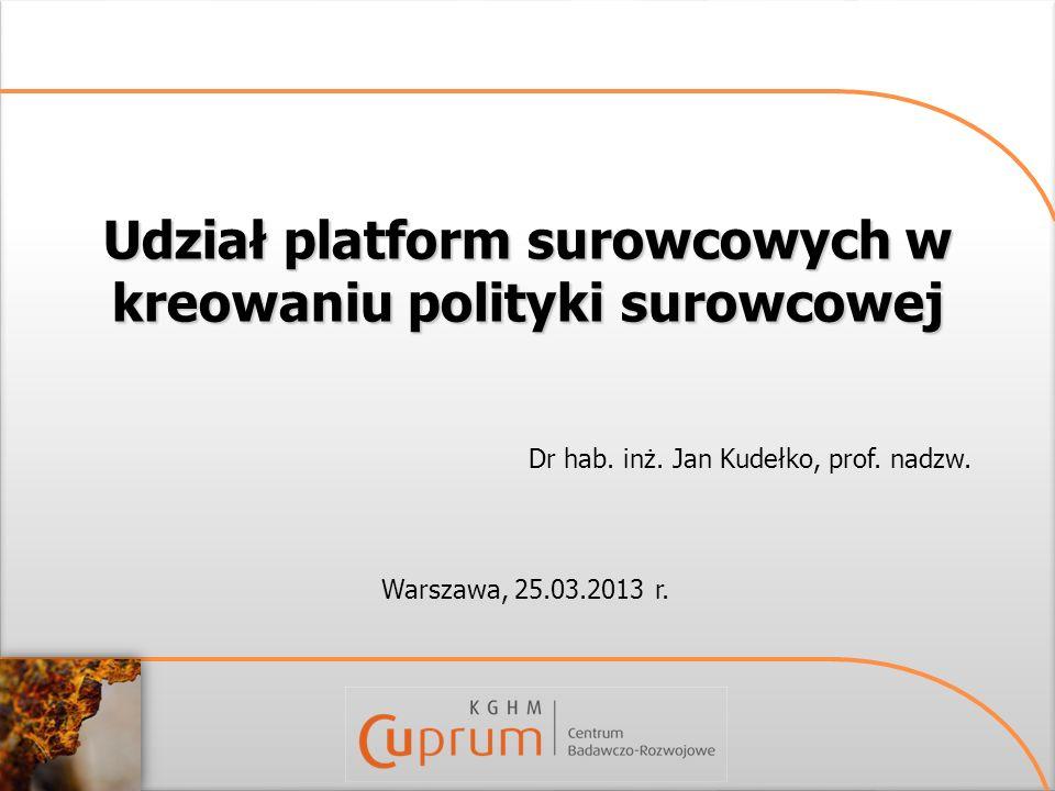 Udział platform surowcowych w kreowaniu polityki surowcowej Warszawa, 25.03.2013 r. Dr hab. inż. Jan Kudełko, prof. nadzw.