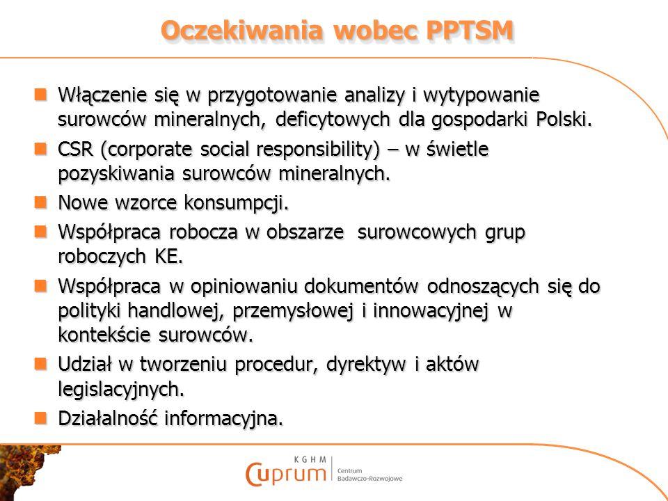Oczekiwania wobec PPTSM Włączenie się w przygotowanie analizy i wytypowanie surowców mineralnych, deficytowych dla gospodarki Polski. Włączenie się w