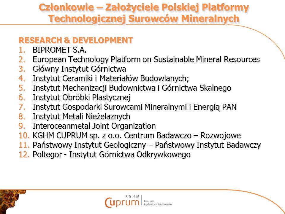 Członkowie – Założyciele Polskiej Platformy Technologicznej Surowców Mineralnych RESEARCH & DEVELOPMENT 1.BIPROMET S.A. 2.European Technology Platform