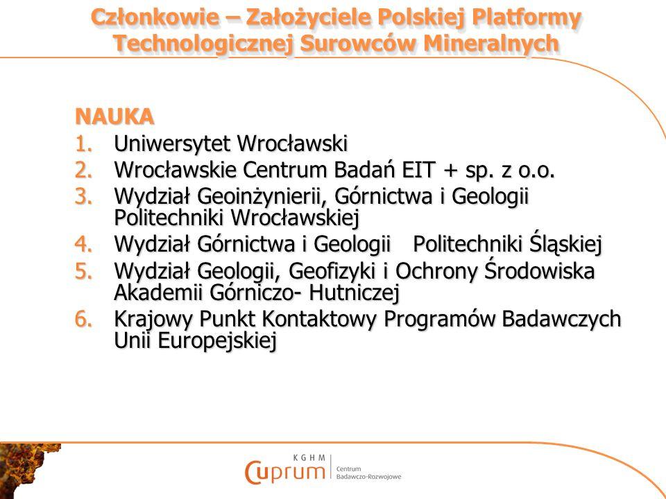 Członkowie – Założyciele Polskiej Platformy Technologicznej Surowców Mineralnych NAUKA 1.Uniwersytet Wrocławski 2.Wrocławskie Centrum Badań EIT + sp.