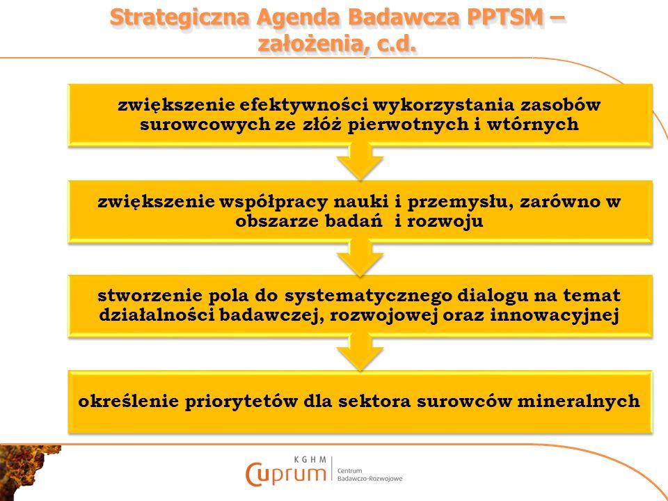 Strategiczna Agenda Badawcza PPTSM – założenia, c.d. określenie priorytetów dla sektora surowców mineralnych stworzenie pola do systematycznego dialog