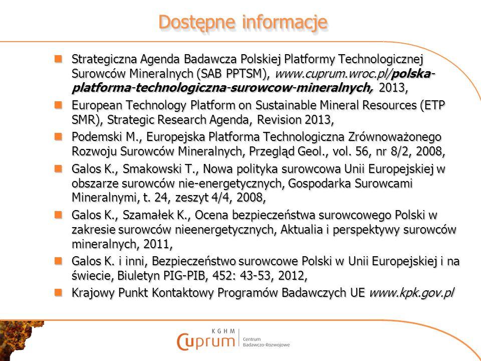 Dostępne informacje Strategiczna Agenda Badawcza Polskiej Platformy Technologicznej Surowców Mineralnych (SAB PPTSM), www.cuprum.wroc.pl/polska- platf
