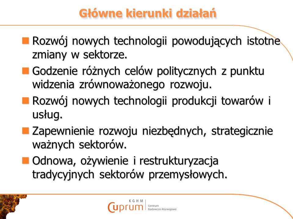 Główne kierunki działań Rozwój nowych technologii powodujących istotne zmiany w sektorze. Rozwój nowych technologii powodujących istotne zmiany w sekt