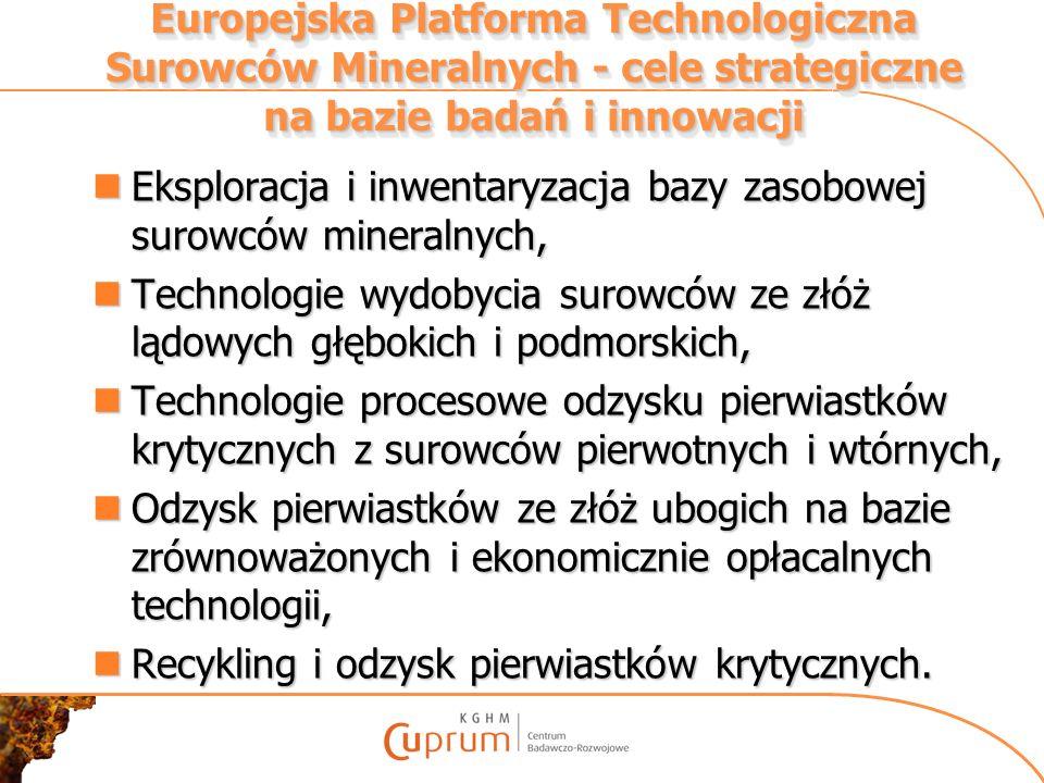 Europejska Platforma Technologiczna Surowców Mineralnych - cele strategiczne na bazie badań i innowacji Eksploracja i inwentaryzacja bazy zasobowej su