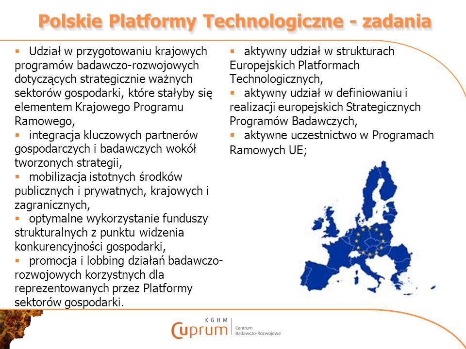 Polskie Platformy Technologiczne - zadania Udział w przygotowaniu krajowych programów badawczo-rozwojowych dotyczących strategicznie ważnych sektorów