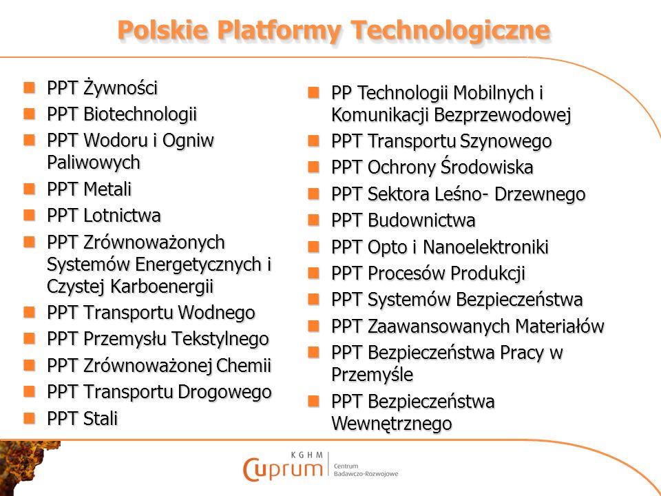 Polskie Platformy Technologiczne PPT Żywności PPT Żywności PPT Biotechnologii PPT Biotechnologii PPT Wodoru i Ogniw Paliwowych PPT Wodoru i Ogniw Pali