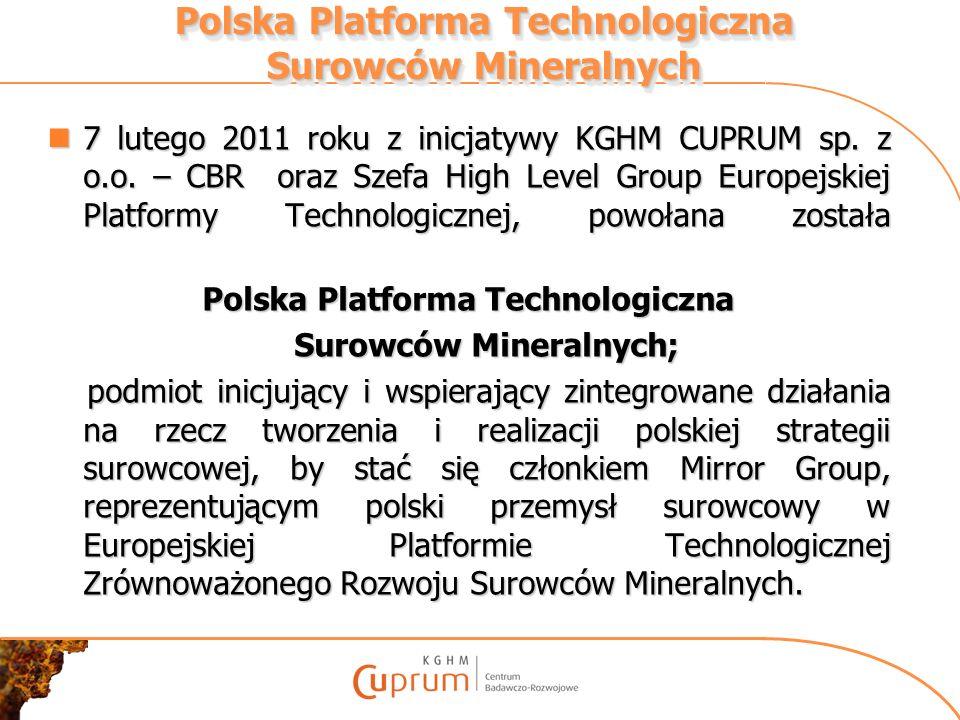 7 lutego 2011 roku z inicjatywy KGHM CUPRUM sp. z o.o. – CBR oraz Szefa High Level Group Europejskiej Platformy Technologicznej, powołana została 7 lu