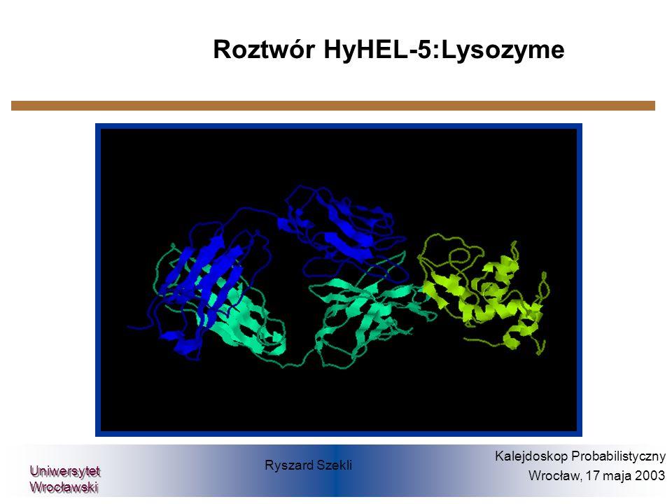 Ryszard Szekli Kalejdoskop Probabilistyczny Wrocław, 17 maja 2003 Uniwersytet Wrocławski Roztwór HyHEL-5:Lysozyme