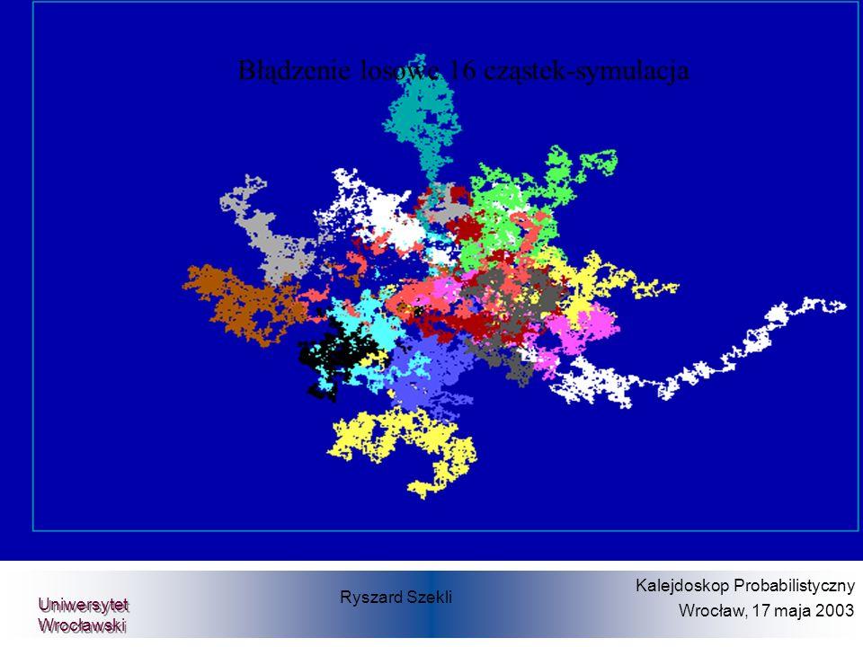 Ryszard Szekli Kalejdoskop Probabilistyczny Wrocław, 17 maja 2003 Uniwersytet Wrocławski Błądzenie losowe 16 cząstek-symulacja