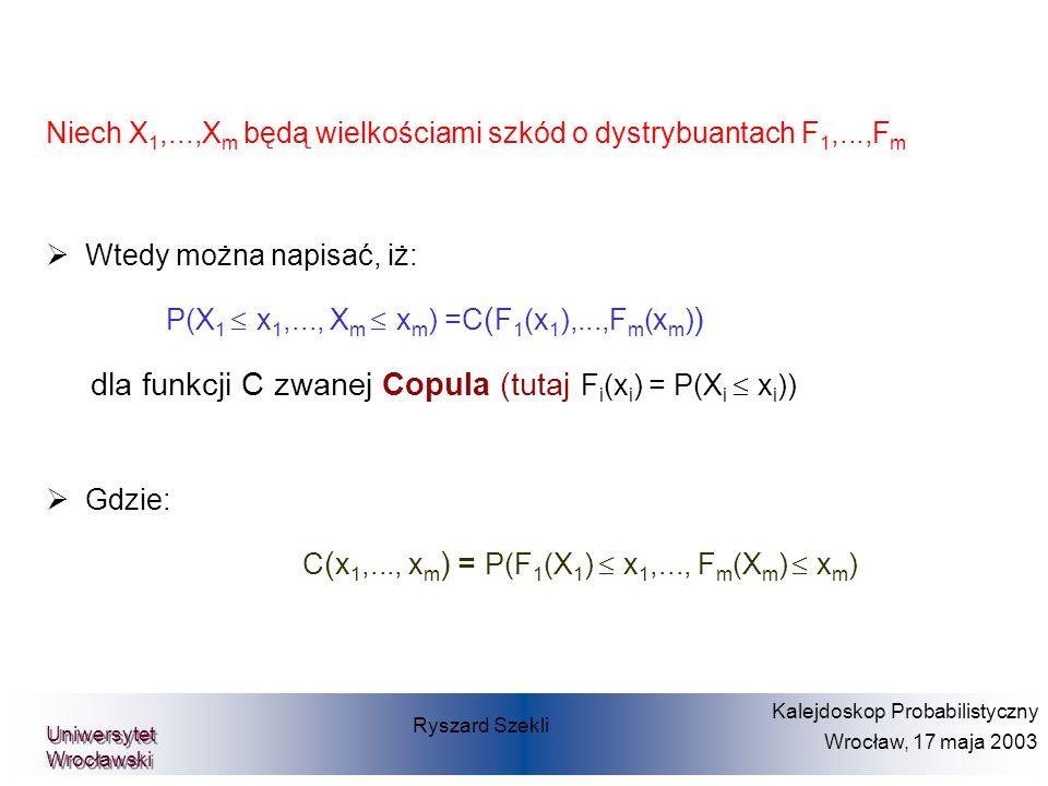Wtedy można napisać, iż: P(X 1 x 1,..., X m x m ) =C ( F 1 (x 1 ),...,F m (x m ) ) dla funkcji C zwanej Copula (tutaj F i (x i ) = P(X i £ x i )) Gdzi