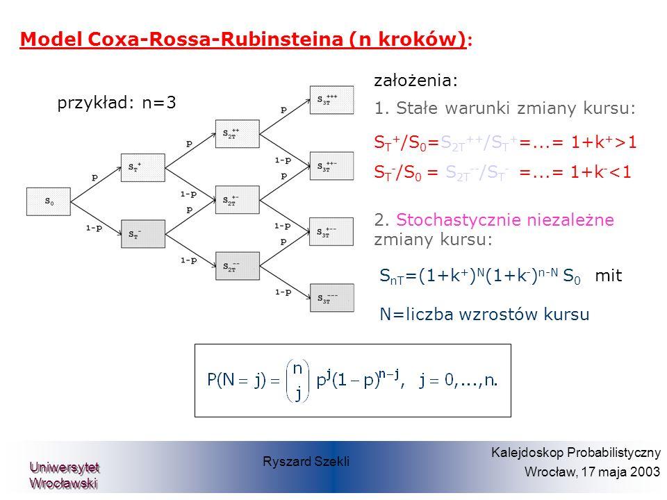 Prof. Dr. Dietmar Pfeifer Teilprojekt Diskrete Finanzmathematik Model Coxa-Rossa-Rubinsteina (n kroków) : założenia: 1. Stałe warunki zmiany kursu: S