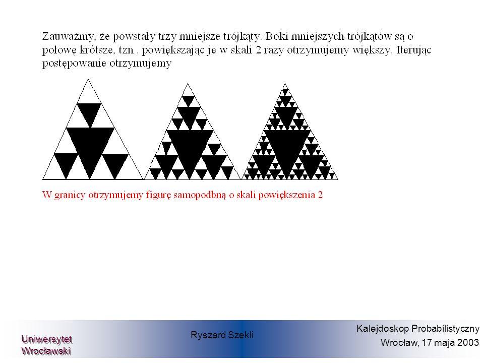 Hüsler-Reiss- model Oszacowanie na podstawie danych Gęstość dwuwymiarowa burza powódź Ryszard Szekli Kalejdoskop Probabilistyczny Wrocław, 17 maja 2003 Uniwersytet Wrocławski