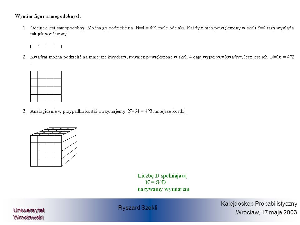Wtedy można napisać, iż: P(X 1 x 1,..., X m x m ) =C ( F 1 (x 1 ),...,F m (x m ) ) dla funkcji C zwanej Copula (tutaj F i (x i ) = P(X i £ x i )) Gdzie: C ( x 1,..., x m ) = P(F 1 (X 1 ) x 1,..., F m (X m ) x m ) Niech X 1,...,X m będą wielkościami szkód o dystrybuantach F 1,...,F m Ryszard Szekli Kalejdoskop Probabilistyczny Wrocław, 17 maja 2003 Uniwersytet Wrocławski