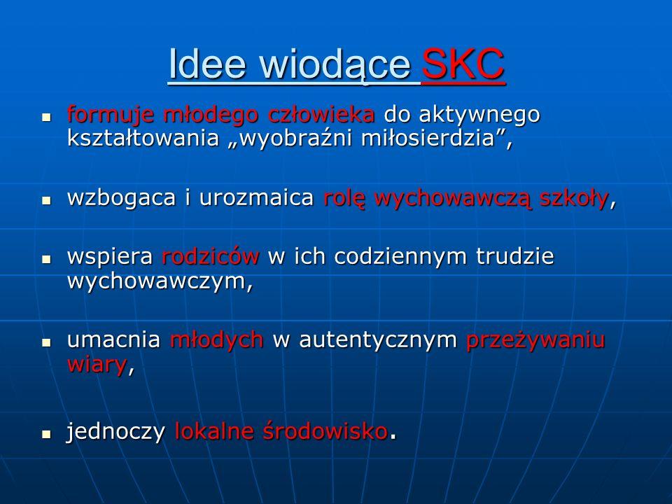 Idee wiodące SKC formuje młodego człowieka do aktywnego kształtowania wyobraźni miłosierdzia, formuje młodego człowieka do aktywnego kształtowania wyo