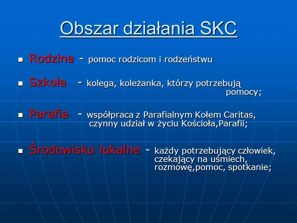 Obszar działania SKC Rodzina - pomoc rodzicom i rodzeństwu Rodzina - pomoc rodzicom i rodzeństwu Szkoła - kolega, koleżanka, którzy potrzebują pomocy;